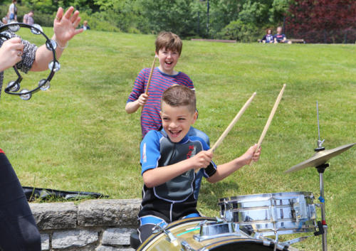 Youngsters were able to try their hand at various instruments (photo by Maisie Hill)
