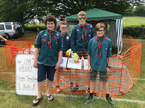The 1st Lym Valley Scouts on their plate smashing stall
