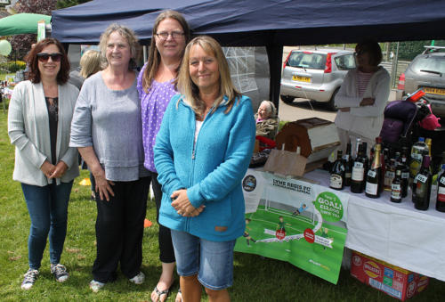 Heather Larcombe, Fiona Blackmore, Emma Blackmore and Nicky Levan raising funds for Lyme Regis Football Club