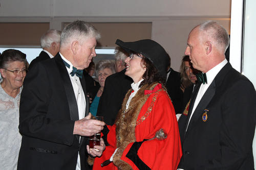 The mayor greets Bob McHardy, chairman of the Lyme Regis/St George's Twinning Association