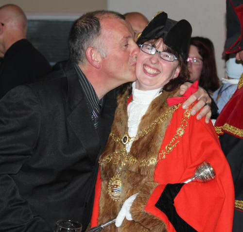 A kiss from town council gardener Jamie Grant