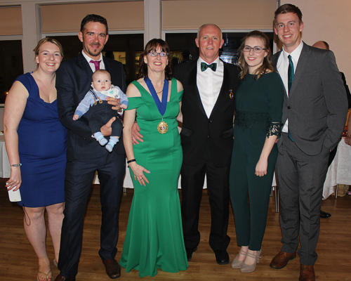 The mayor pictured with her family on Civic Night - husband Alan, daughters Jarvia and Kelsey, their partners Chris Aylott and Matthew Rattenbury and grandson Reuben