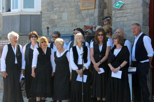 The Lyme-based shanty singers Harbour Voices entertain