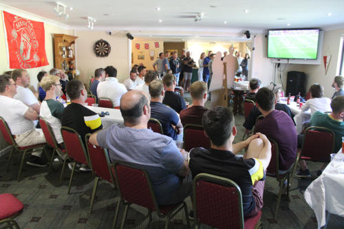 The clubhouse was packed for the screening of the FA Cup Final, which followed the royal wedding
