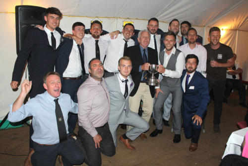 LYME Regis Reserves celebrate winning the Football Express Cup with Mervyn Joslin of the Devon & Exeter League