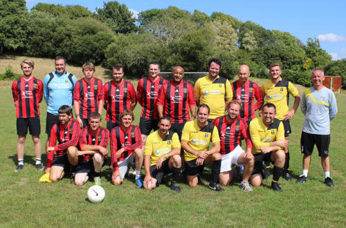 Lyme Regis Football Club took on an emergency services team for a friendly match