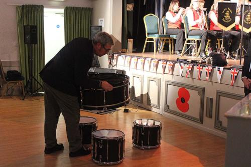 The drumhead is assembled by Royal British Legion parade marshal Kevin Taylor