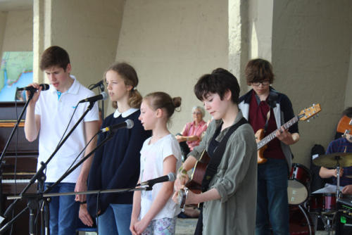 Youngsters from music charity B Sharp perform for the Busking Festival