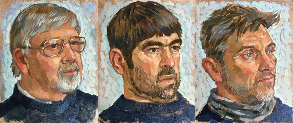 Portraits of Lyme Regis lifeboat crew members