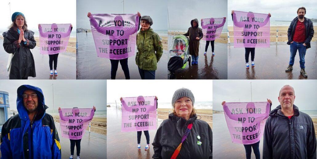 climate bill banner drops