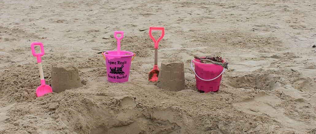Lyme Regis beach sandcastles
