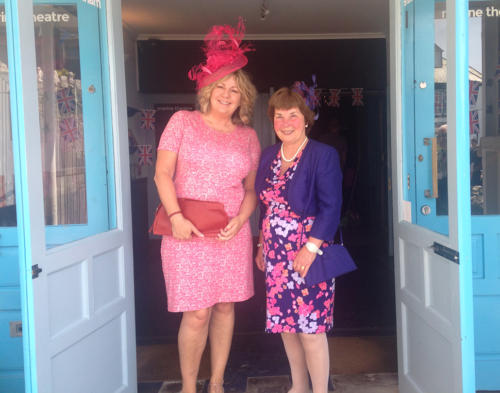 Deb and Christine Leisk at the royal wedding celebrations at the Marine