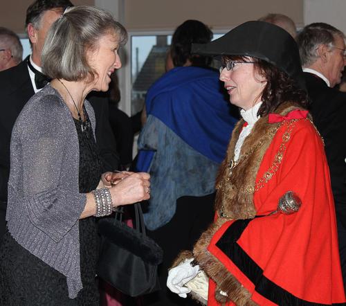 Diana Dixon of Lyme Regis Gig Club greets the mayor