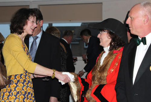 The mayor welcomes Sophia Mosley, manager of the Marine Theatre