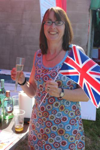 The Mayor of Lyme Regis, Councillor Michaela Ellis, gets into the celebratory spirit at the football club