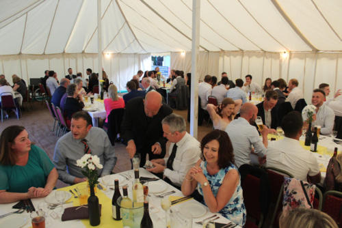 Guests sit down for dinner at Lyme Regis Football Club's annual presentation night
