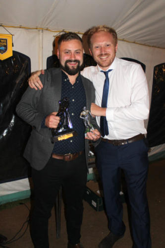 MATTHEW Preece (left) picks up the Rovers Manager's Player award, presented by fellow player Niall Davis in the absence of manager Terry White
