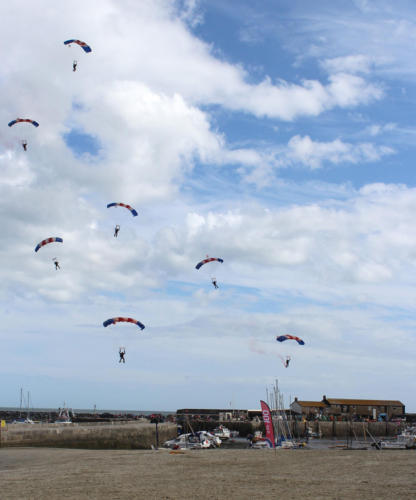 The RAF Falcons land of Lyme Regis beach