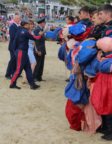 The Mayor of Lyme Regis, Councillor Michaela Ellis, is introduced to the RAF Falcons